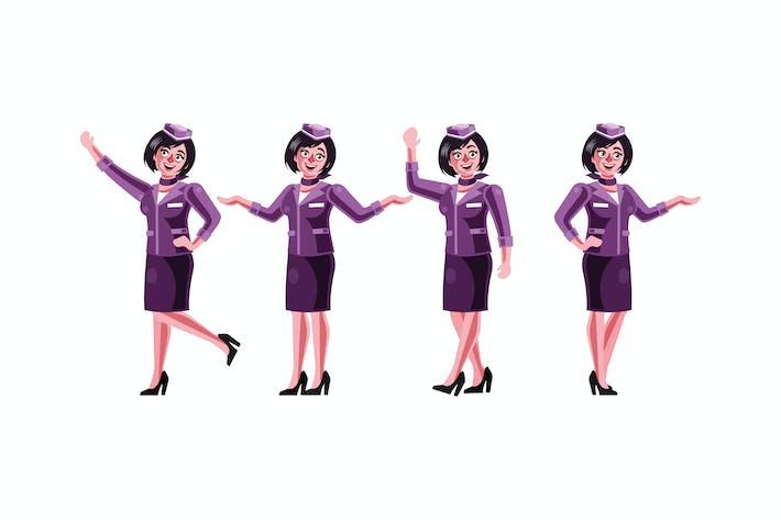 Thumbnail for Stewardess Character Graphics Vector Illustration