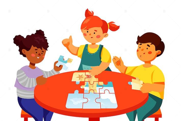 Thumbnail for Children doing a puzzle - flat design illustration