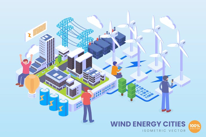 Thumbnail for Isometric Wind Energy Cities Technology Vector