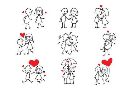 Couple in Love Stick Figure Doodle