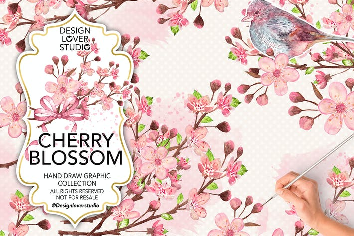 Cover Image For Watercolor CHERRY BLOSSOM design