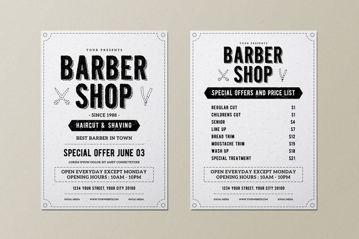 Vintage Barber Shop Flyer Menu
