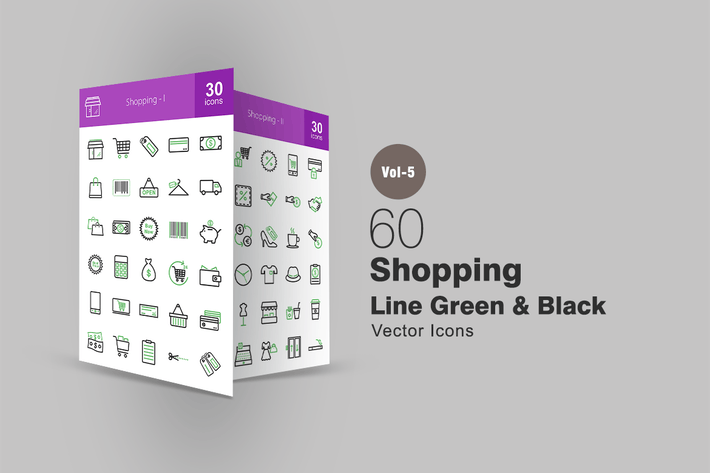 Thumbnail for 60 Shopping Line Green & Black Icons
