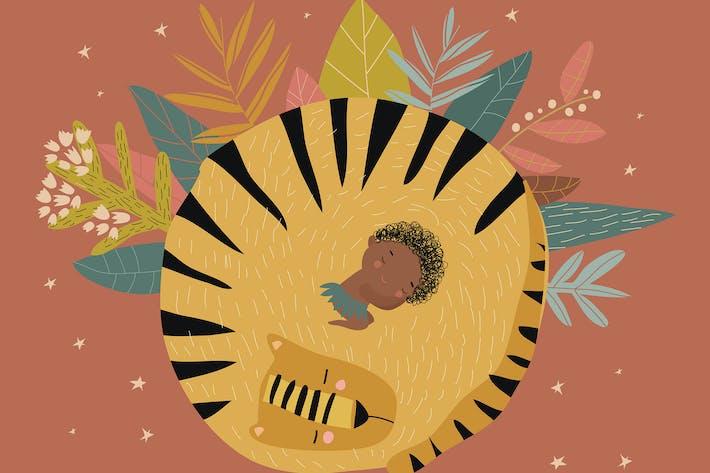 Thumbnail for Niedlicher Junge schläft mit Tiger unter den Sternen.