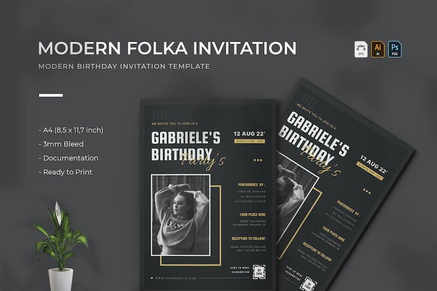 Modern Folka   Birthday Invitation