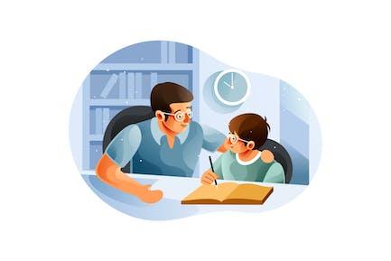 Niño estudiando con padre en casa