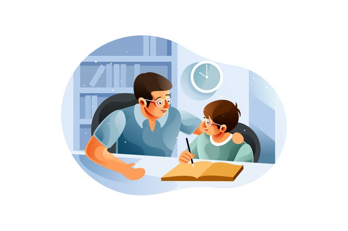 Boy studying with father at home
