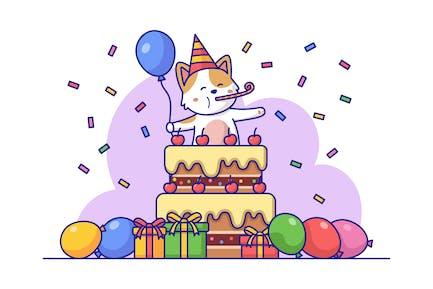 Ilustración de cumpleaños de gato