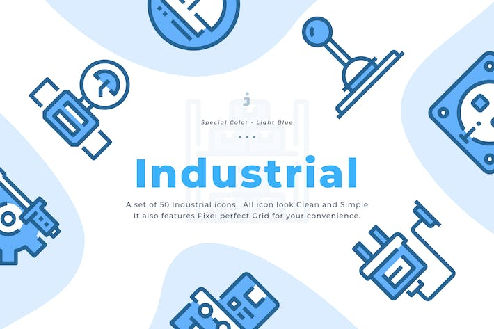 Thumbnail for 30 Industrial Icons - Light Blue