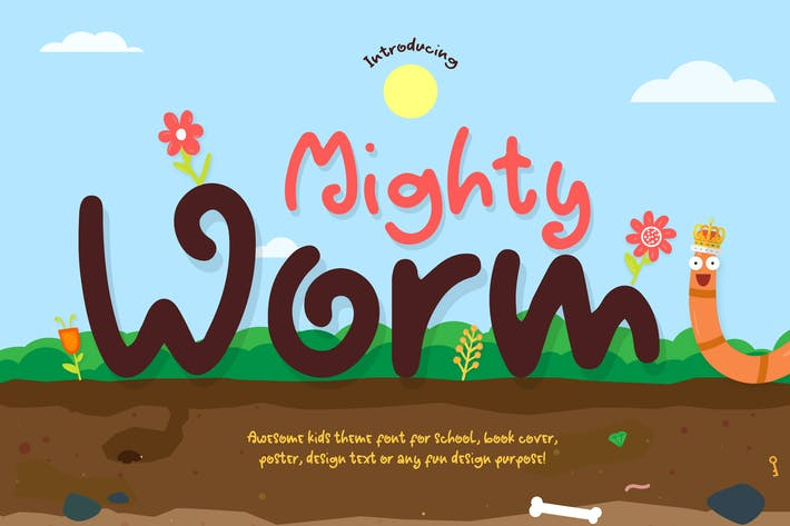 Thumbnail for Mighty Worm Font