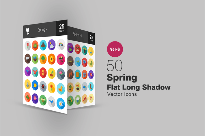 Thumbnail for 50 Spring Flat Shadowed Icons