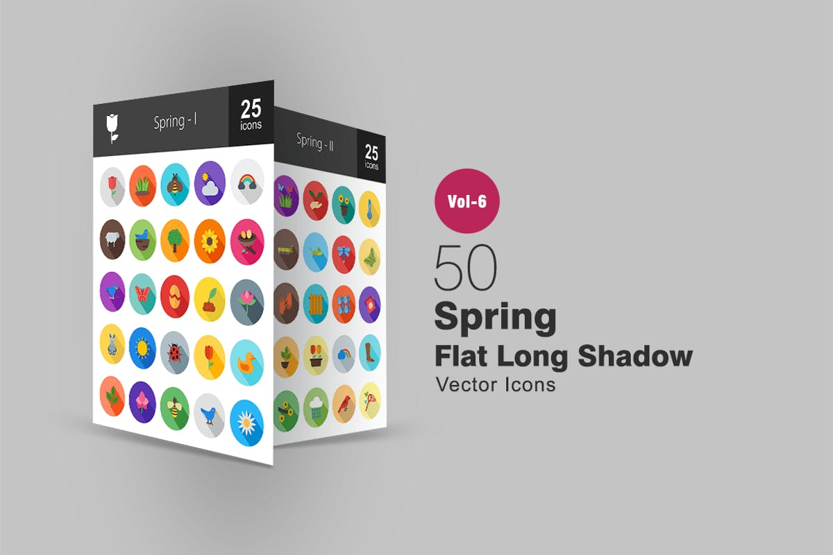 Download 50 Spring Flat Shadowed Icons by IconBunny by Unknow