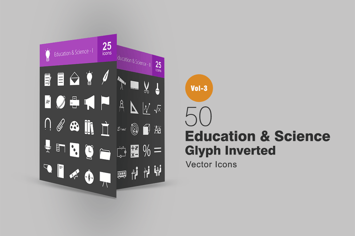 Thumbnail for 50 Education & Science Glyph Inverted Icons