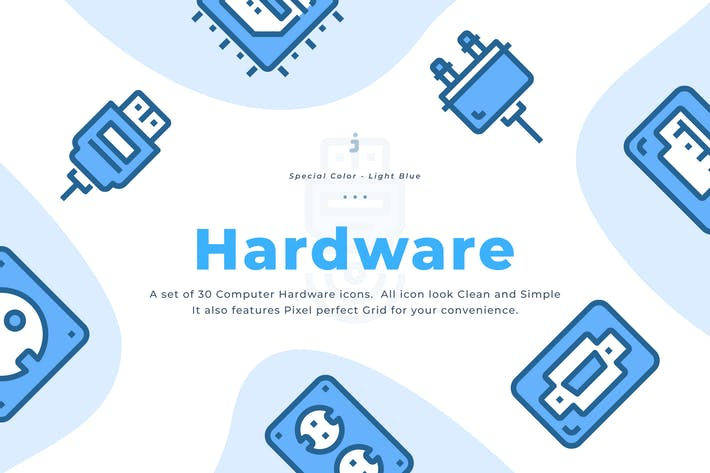 Thumbnail for 30 Computer Hardware Icons - Light Blue