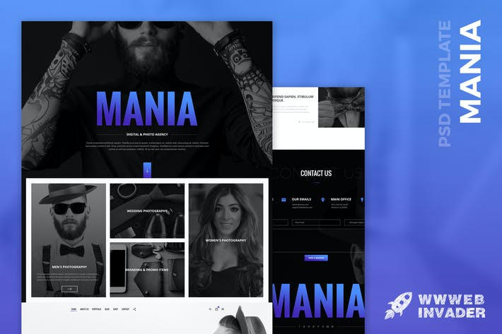 Thumbnail for Mania - Digital & Photo Agency PSD Template