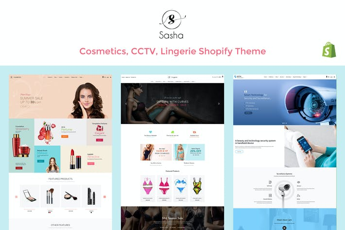 Thumbnail for Sasha - Cosmetics, CCTV, lingerie Shopify Theme