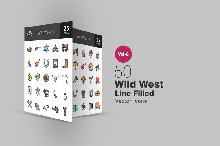 Thumbnail for 50 Wild West Filled Line Icons