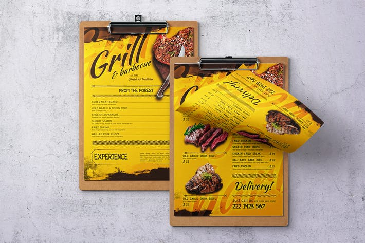 Thumbnail for Barbecue simple page A4 et US Letter Food Menu