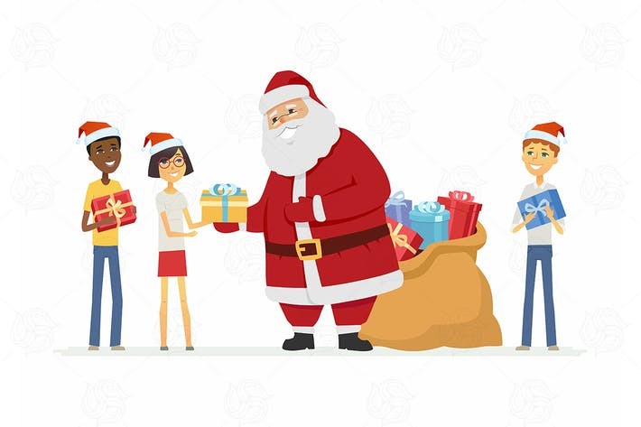 Thumbnail for Santa Claus with children - vector illustration