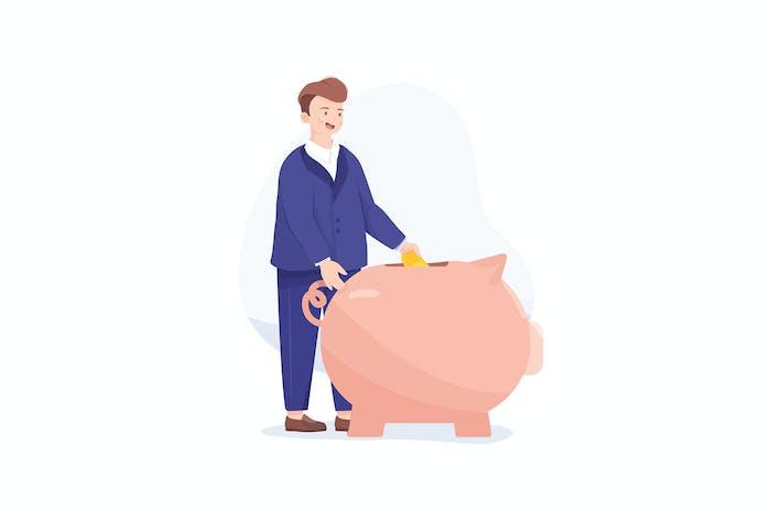 Thumbnail for Manager legte Geld in ein Sparschwein