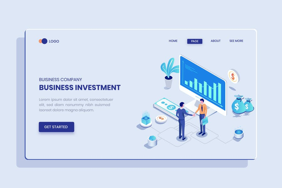Business Investment  Isometric Concept Langding