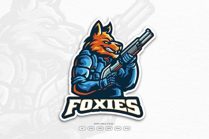Fox War Gun Battle Animal Mascot Logo Template