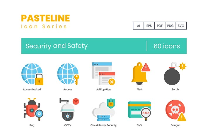 Thumbnail for 60 Security and Safety Flat Icons