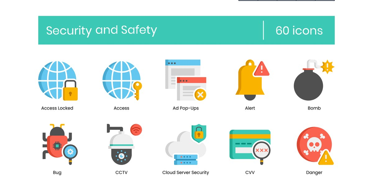 Download 60 Security and Safety Flat Icons by Krafted
