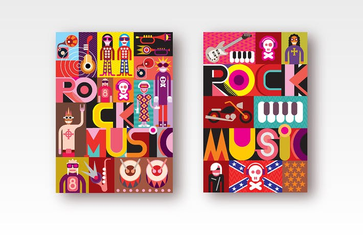 Thumbnail for 2 Rock Music Poster Designs