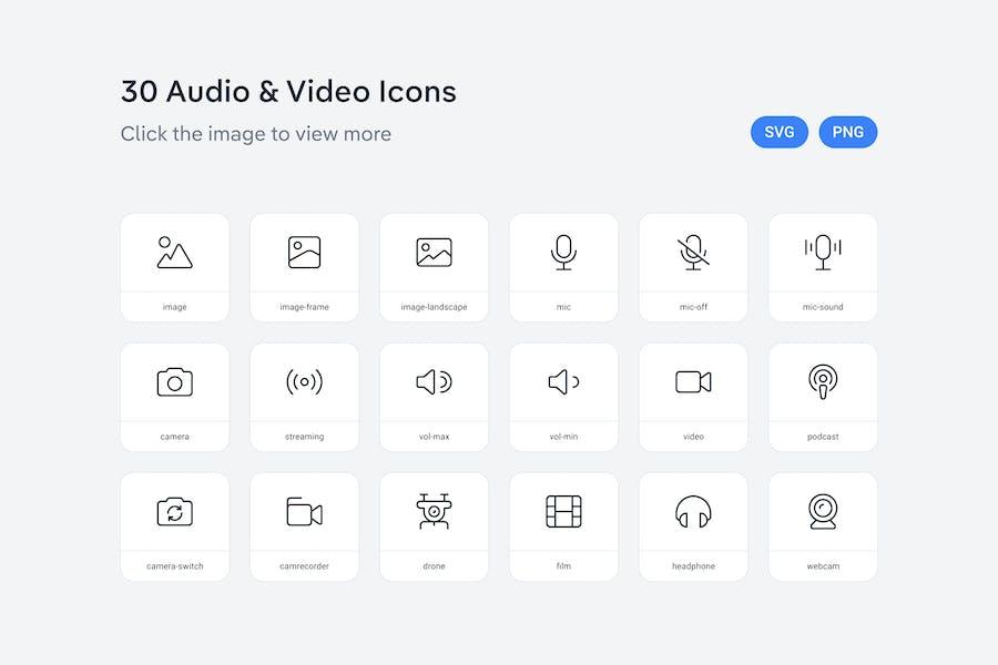 Audio- und Videosymbole — Linie