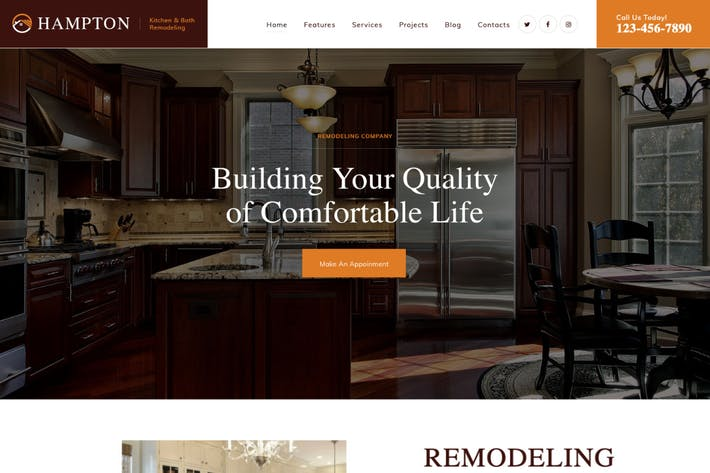 Thumbnail for Hampton |Home Design and House Renovation WP Theme