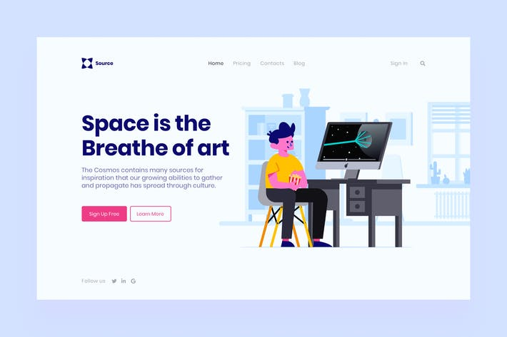 Cover Image For Space Landing Page Illustration