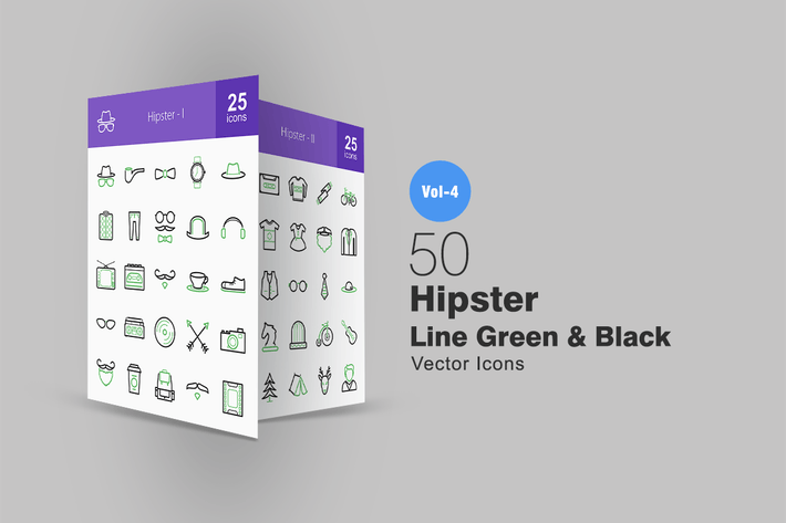 Thumbnail for 50 Hipster Line Green & Black Icons