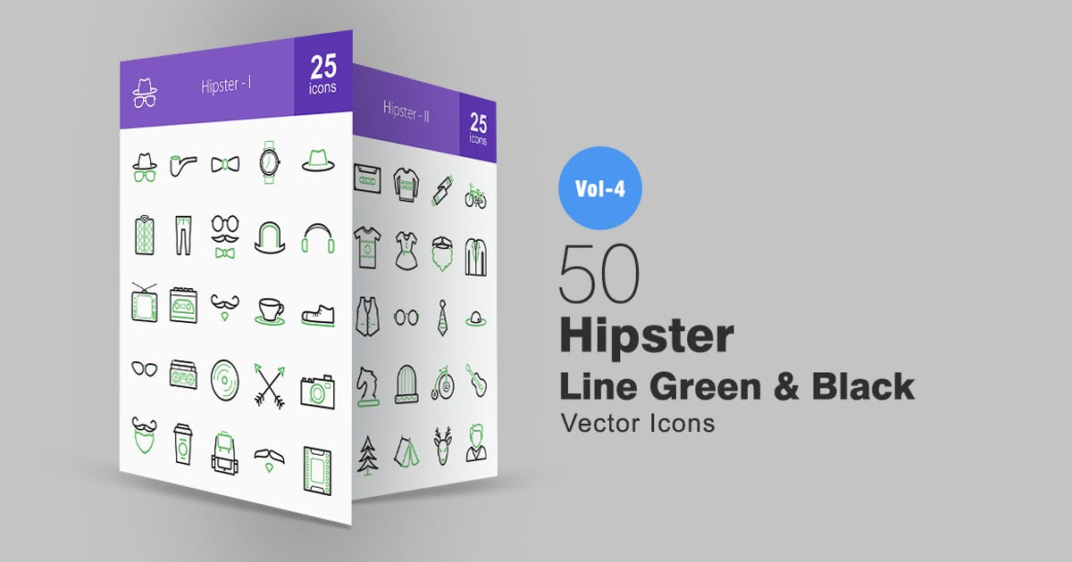 Download 50 Hipster Line Green & Black Icons by IconBunny