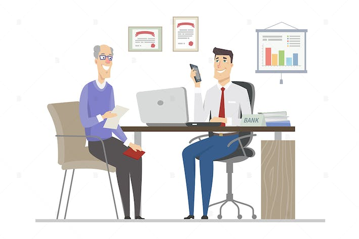 Thumbnail for Senior man on the interview - flat illustration
