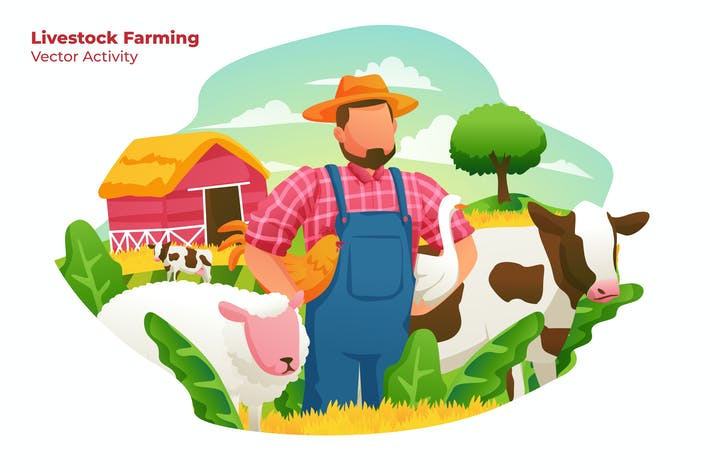 Thumbnail for Livestock Farming - Vector Illustration