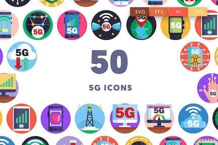 50 5G Icons