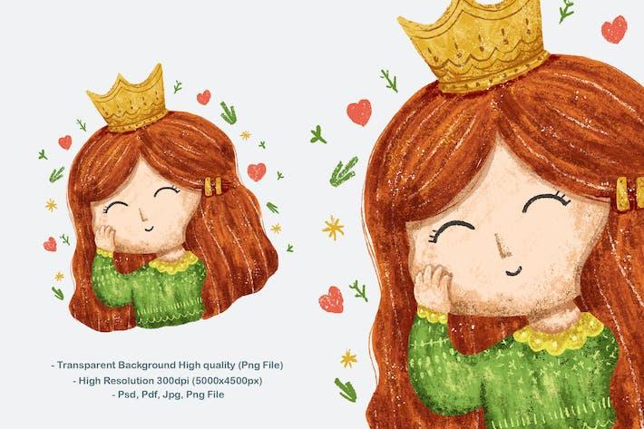 Cute Little Girl Princess Design Illustration