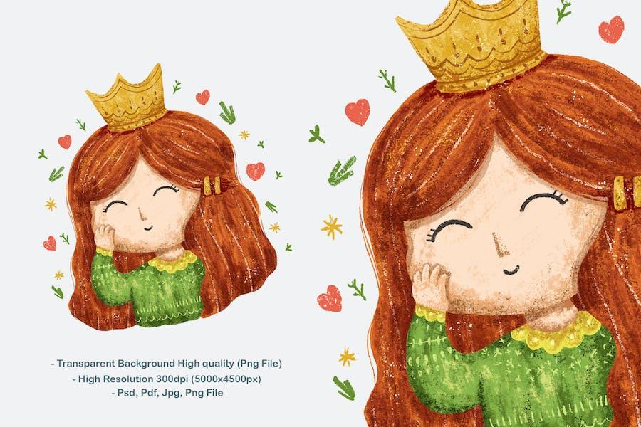 Mignonne petite fille princesse Illustration