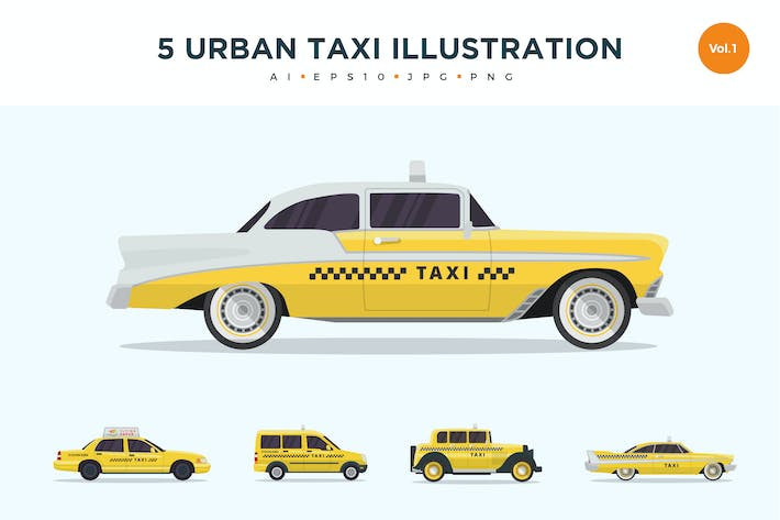 Thumbnail for 5 Urban Taxi Vector Illustration Set 1