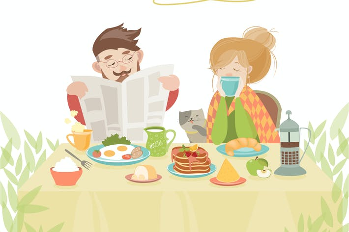 Thumbnail for Couple in love having breakfast
