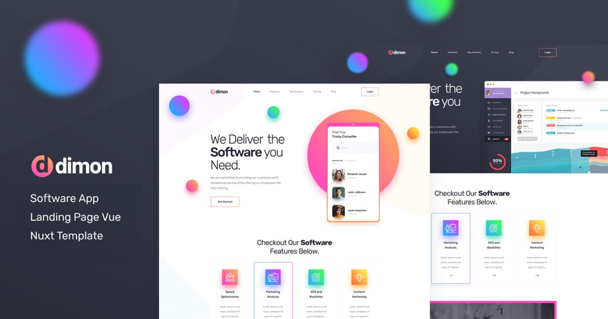Download Dimon - Vue Nuxt Software App Landing Page by Layerdrops