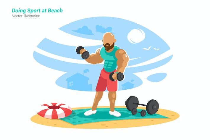 Sports at Beach - Vector Illustration