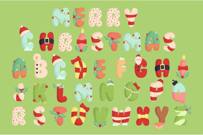 Thumbnail for Christmas Alphabet Illustration Set