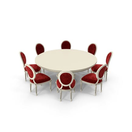 Red Fabric Velvet Round Dining Table Set