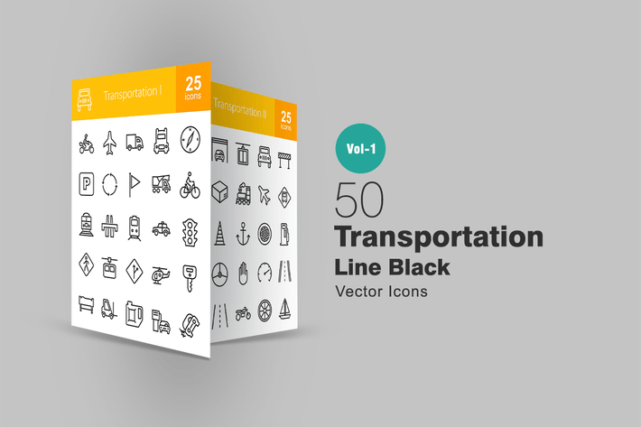 Thumbnail for 50 Transport Line Icons