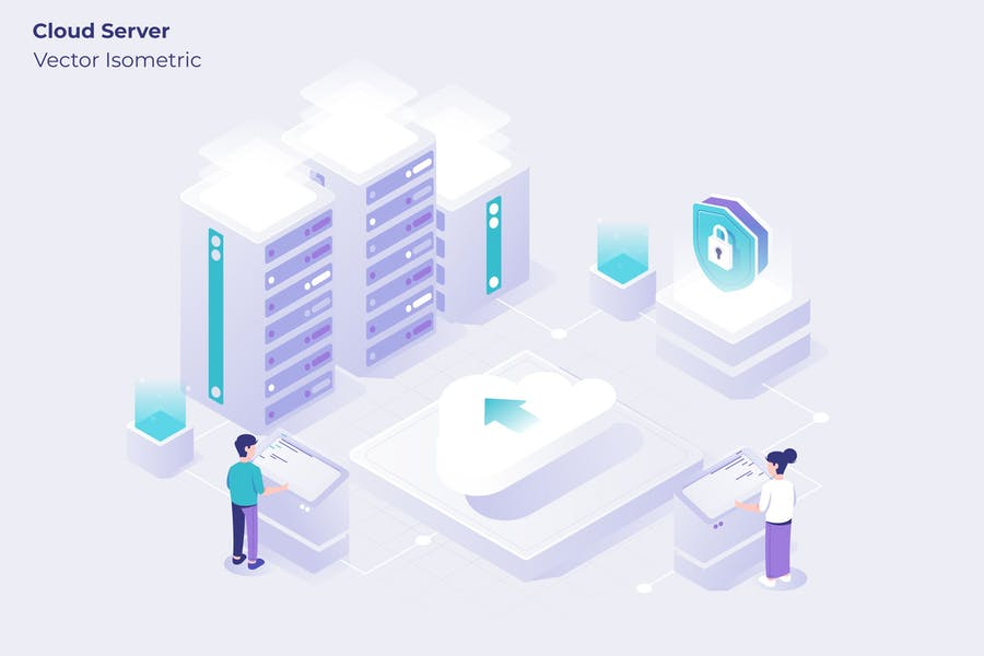 Cloud Server - Vector Illustration