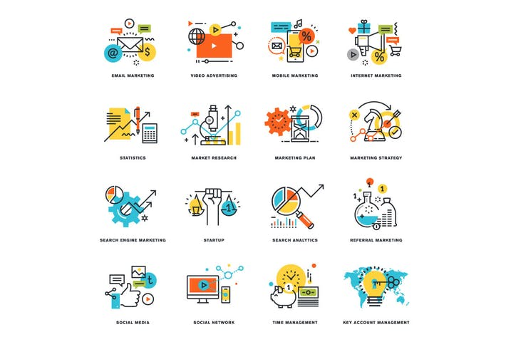 Thumbnail for Set of Flat Line Design Icons