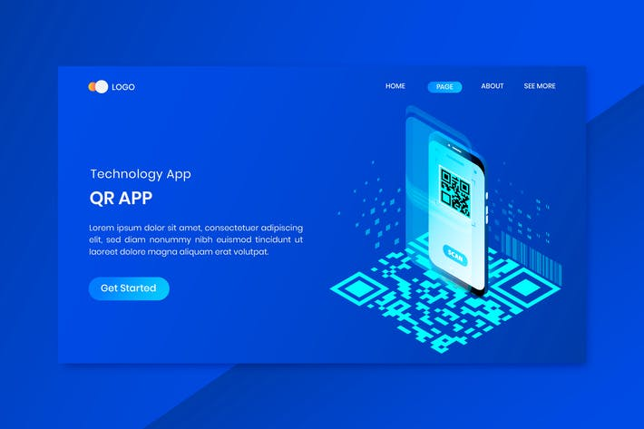 QR App Isometric Concept Landing Page