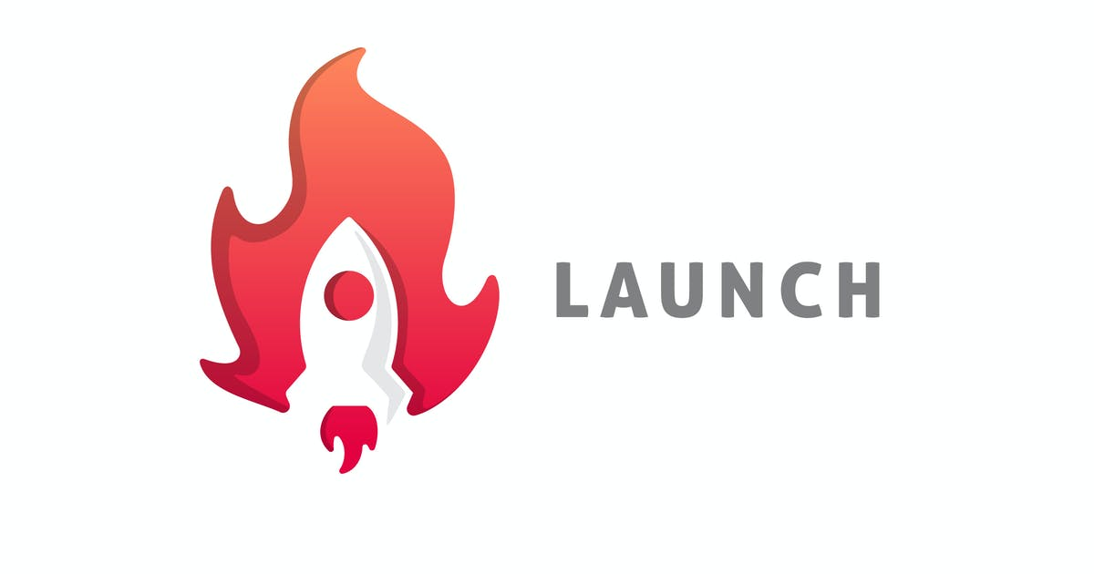 Download Launch - Negative Space Rocket and Fire Logo by Suhandi